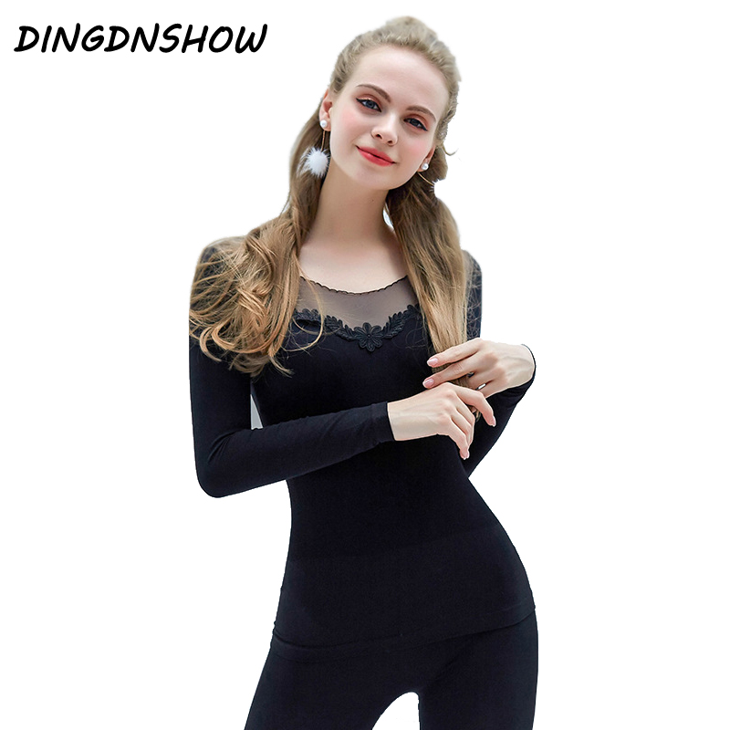 [DINGDNSHOW] 2019 Brand Long Johns Winter Cotton Lace Clothing Thermal Underwear Sexy Women Seamless Flower Shaped Lady Sets