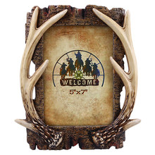 American Retro Antler Photo Frame Picture Frame Wedding Photography Creative Resin Crafts Couple Gifts Home Desktops Decorations(China)