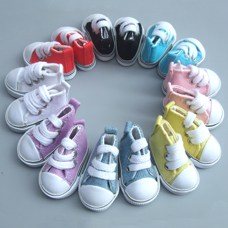 5 Pair Mix Assorted Canvas Shoes For BJD Doll Fashion Mini Toy Shoes Sneaker