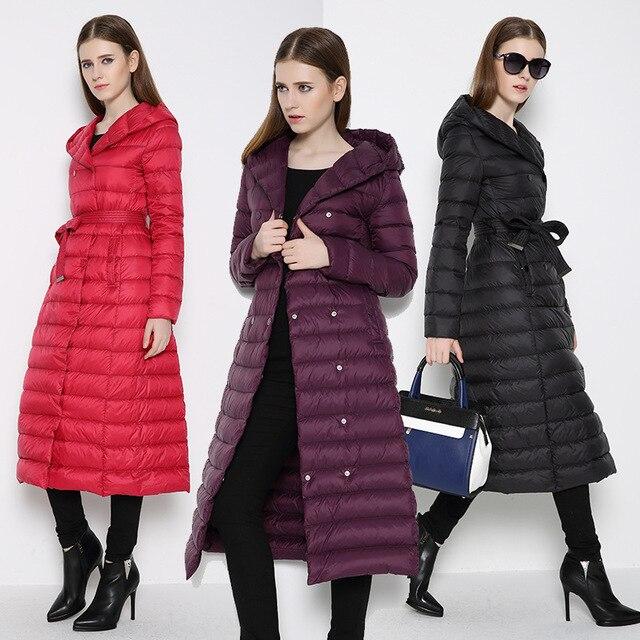 Extra largo abajo chaqueta femenina 2016 European brand plus size slim fit parkas abrigo de invierno caliente delgado down abrigos XXXL abrigo niñas