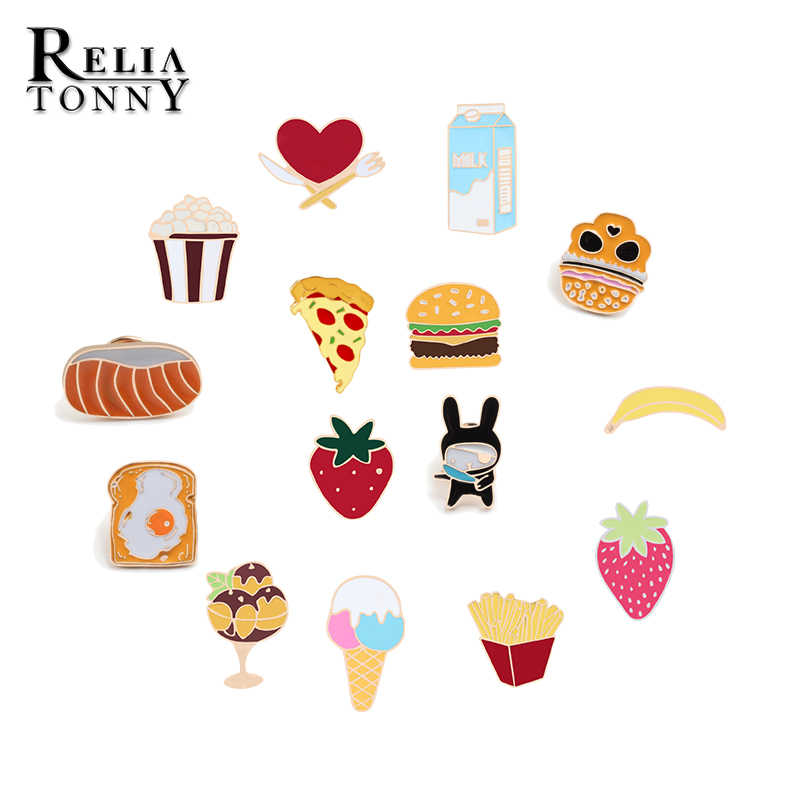 Fashion Cartoon Broche Ontbijt Brood Burger Melk Broche Jas Kraag Rugzak Emaille Pin Badge Sieraden Paar Revers Naald Gift