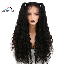 Sunnymay 130% Density Brazilian Pre Plucked Curly Human Lace Front Hair Wigs Remy With Baby Hair For Black Women Natural Color