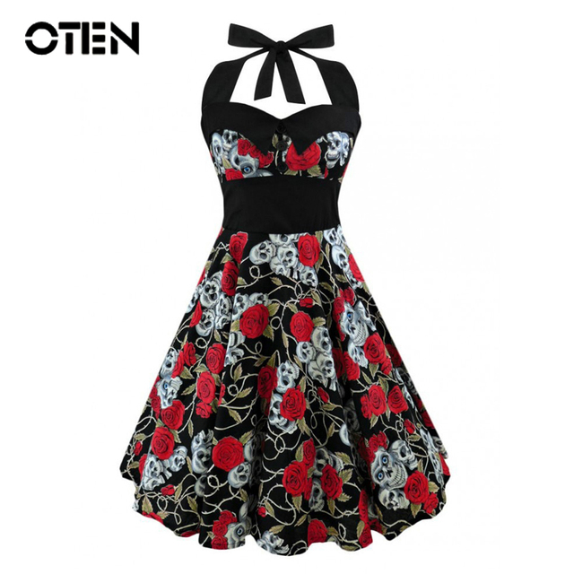 OTEN 2017 Summer Vintage Retro Skull Rose Floral Printed Rockabilly Skater pin up swing dress Plus size 4XL 5XL vestido de festa