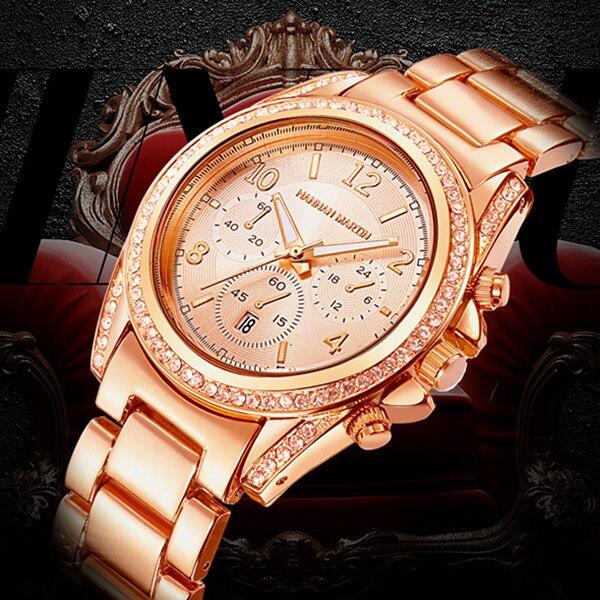 Hannah Martin Women's Watches Fashion Rose Gold Watch Women Watches Luxury Diamond Ladies Watch Full Steel Clock Montre Relojes