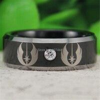 Darmowa Wysyłka YGK BIŻUTERIA Gorąca Sprzedaży 8 MM Lśniący Czarny Srebrny Egdes Star Wars Jedi męska CZ Wolfram Wedding pierścień