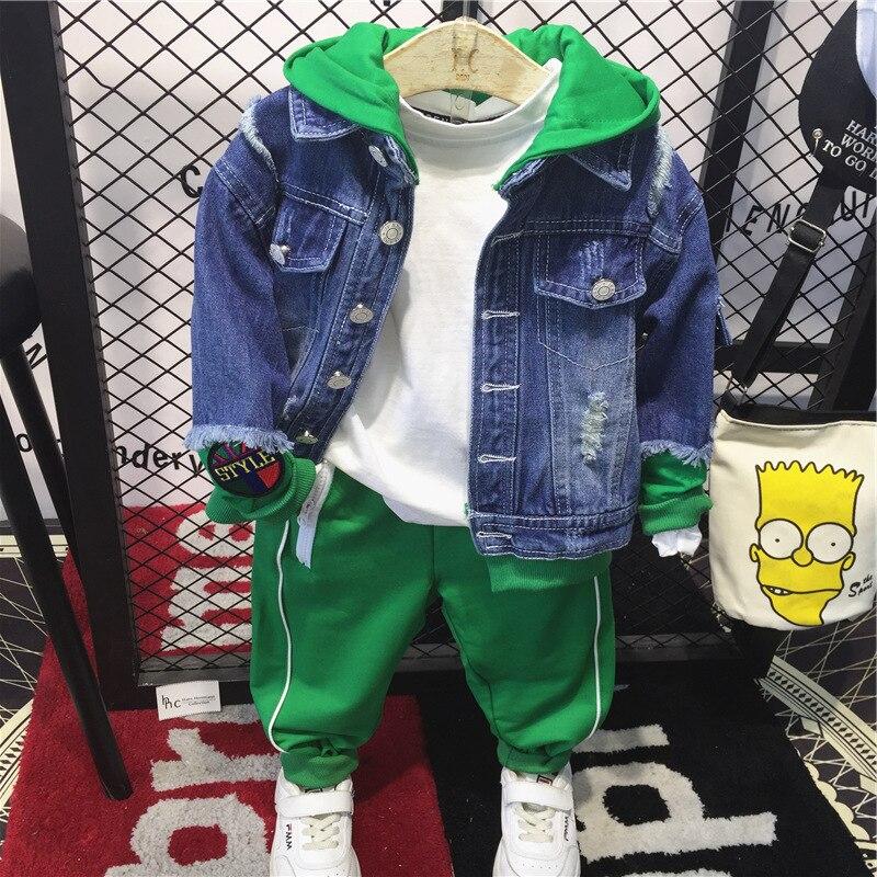 Fashion Denim Jackets for Boys 2018 Autumn New Children Outwear Kids Hooded Jean