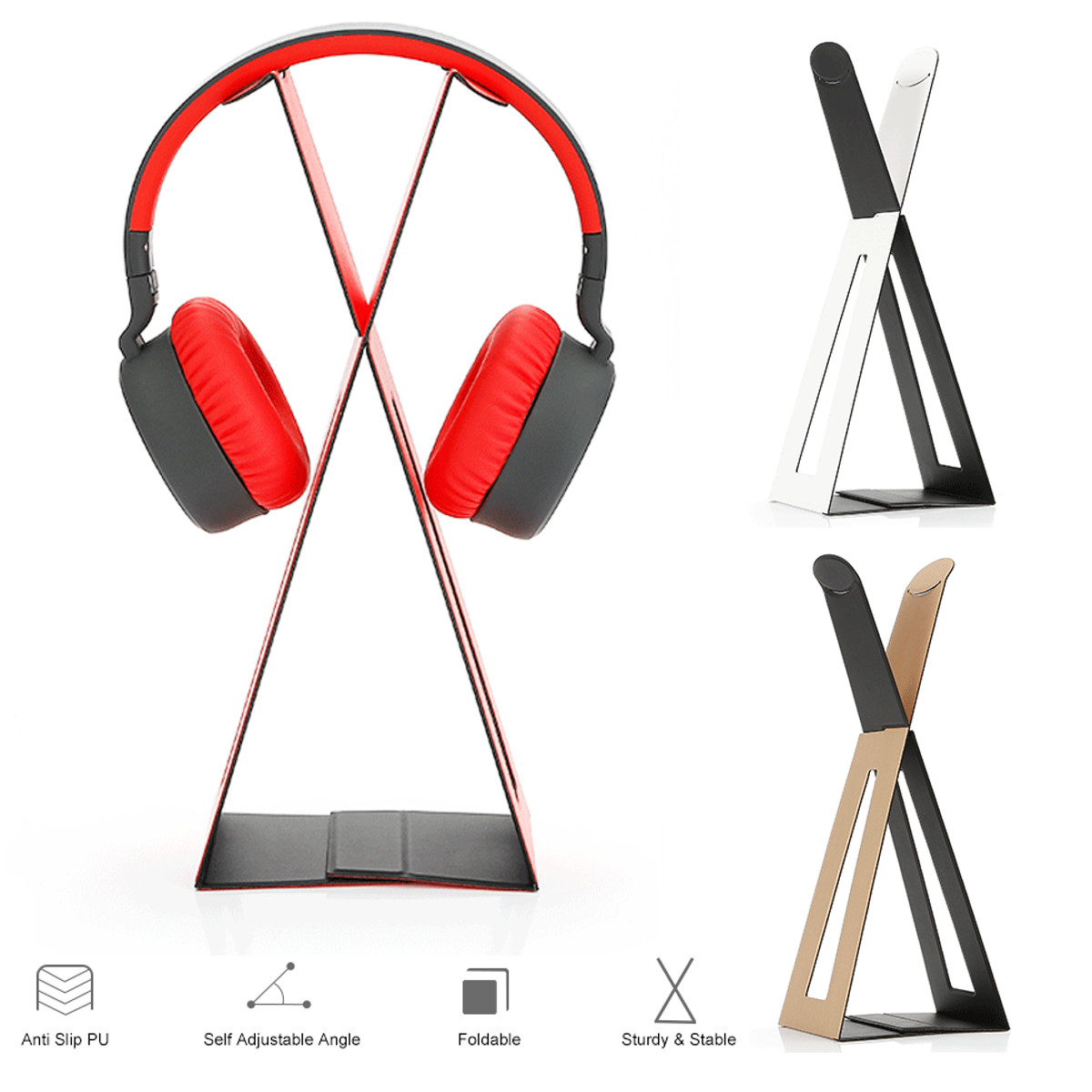 Folding Headset Earphone Rack Holder Headphone Stand Display Hanger Storage Bracket Organizer Portable Headphone Accessories