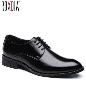 Image 1 - ROXDIA buty ślubne męskie skóra z mikrofibry formalne biznes szpiczasty nosek dla człowieka sukienka buty męskie oxford mieszkania RXM081 rozmiar 39 48
