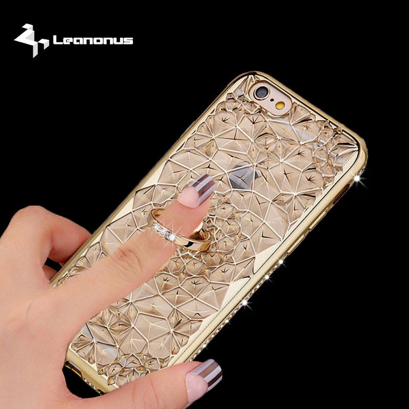 For iPhone 7 7Plus 6 6s Plus Luxury Case For Samsung Galaxy S8 S8Plus S7 Edge 3D Diamond Flower Phone Ring Holder Stand Cover image