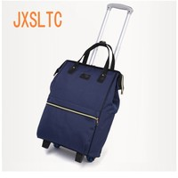 JXSLTC New Backpack Girl Rolling Bag Luggage Bag Wheel Luggage Oxford Cloth Multi function Baggage Organizer Weekend Package