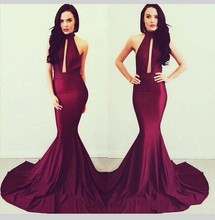 Michael Costello Burgund Mermaid Abendkleid 2016 elegante Frauen lange High Neck Backless Abendkleider Abendkleid