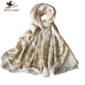 [Marte&Joven] 4 Color Fashionable Gold Embroidered Floral Scarves Casual Ladies 180*95cm Long Scarfs and shawls