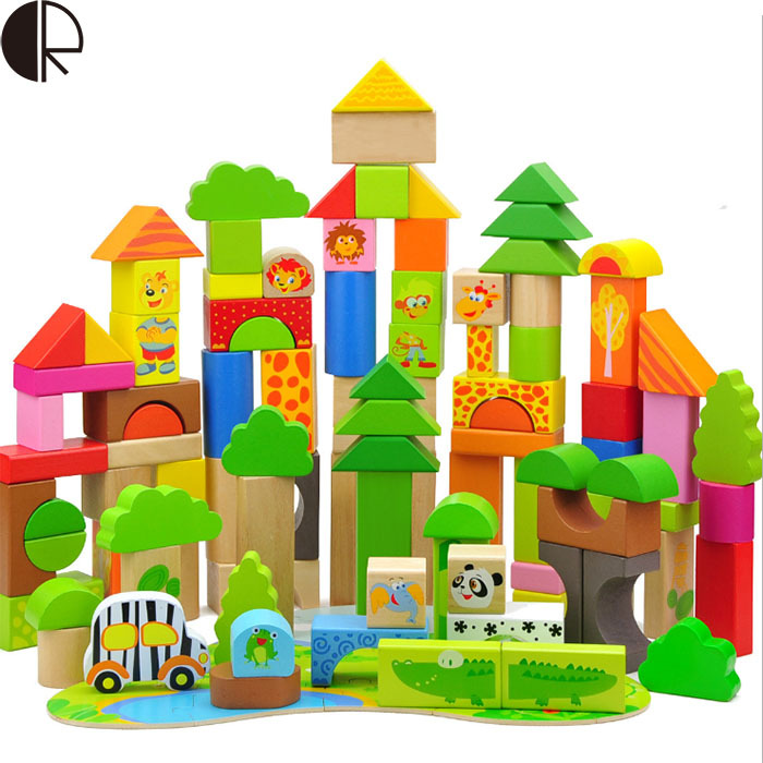 2017 Hot Sale Forest Animals Children Assembled DIY Wooden Building Blocks Toys Baby Toy Best Gift For Children HT2265 high quality 50pcs classical and 52pcs forest animals wood building blocks toy bottled children educational wooden toy block