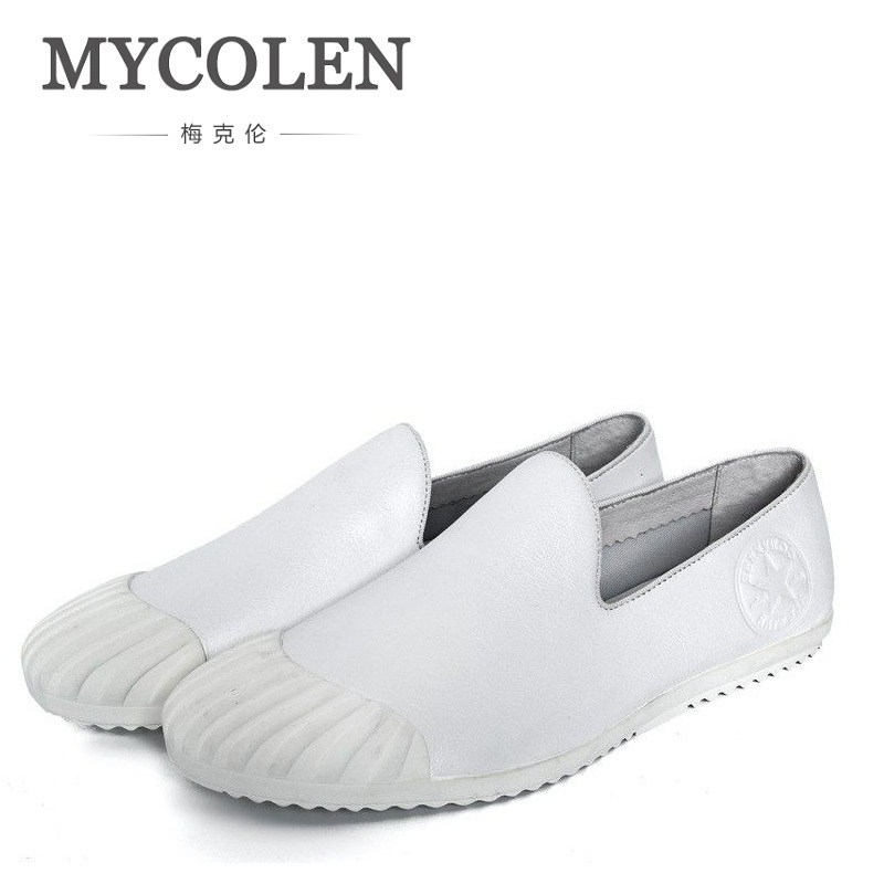 MYCOLEN Men Leather Shoes Casual Loafers For Spring Autumn New Light Comfortable Round Toe Flats Solid Rubber Shoes Schoenen top brand high quality genuine leather casual men shoes cow suede comfortable loafers soft breathable shoes men flats warm
