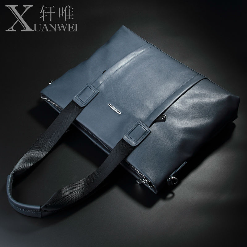 XuanWei Good Genuine Cow Leather Business Briefcase Black/Blue Fashion Men Handbags & Crossbody Bags (XW-606)