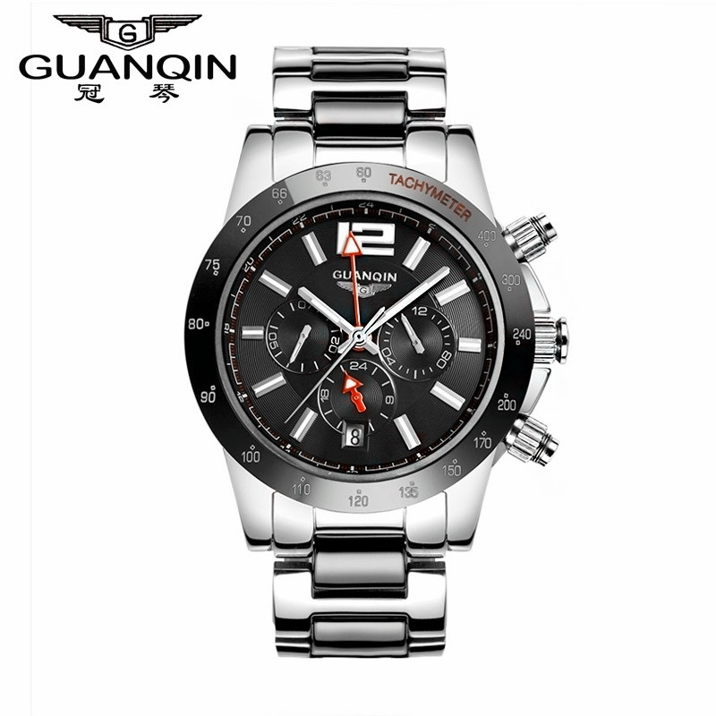 Famous Brand Original GUANQIN Mechanical Big Dial Watch Sapphire Men Luxury Sale Watch Waterproof Cheap Wrist Watches Male Clock men mechanical watches men s watch best luxury brand 2017 new burei male steel band hour sapphire waterproof wristwatch hot sale