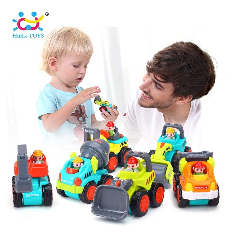 6 Teile/los Baby Spielzeug Mini Baufahrzeug Autos-Gabelstapler, Bulldozer, Straßenwalze, bagger, Kipper, traktor Spielzeug für Jungen