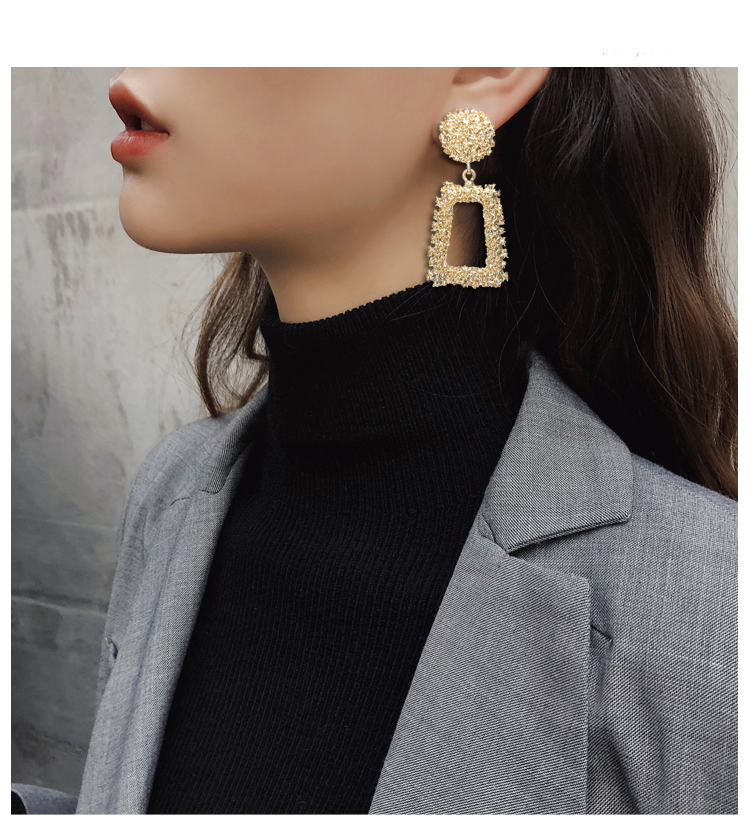 Hot Selling Large Dangle Earrings For Women Gold Earring Square Geometric Earrings European Style Jewelry Wholesale