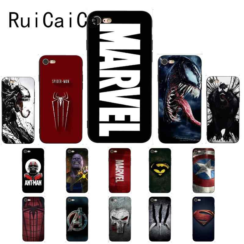 Ruicaica incrível marvel superman veneno escudo spiderman caso de telefone para iphone8 7 6 s 6 plus x xsmax 5 5S se xr 11 11pro 11promax