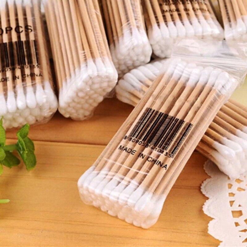 1 Beutel Im Freien Notfall Medizinische Wunde Pflege Dressing Doppel Kopf Baumwolle Tupfer Baby Pflege Reinigung Make-up Entferner Spitze Holz Werkzeuge