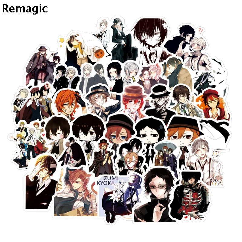 50pcs Stray Dogs characters kids Sticker pack fans anime vintage paster cosplay scrapbooking diy sticker phone laptop pasters