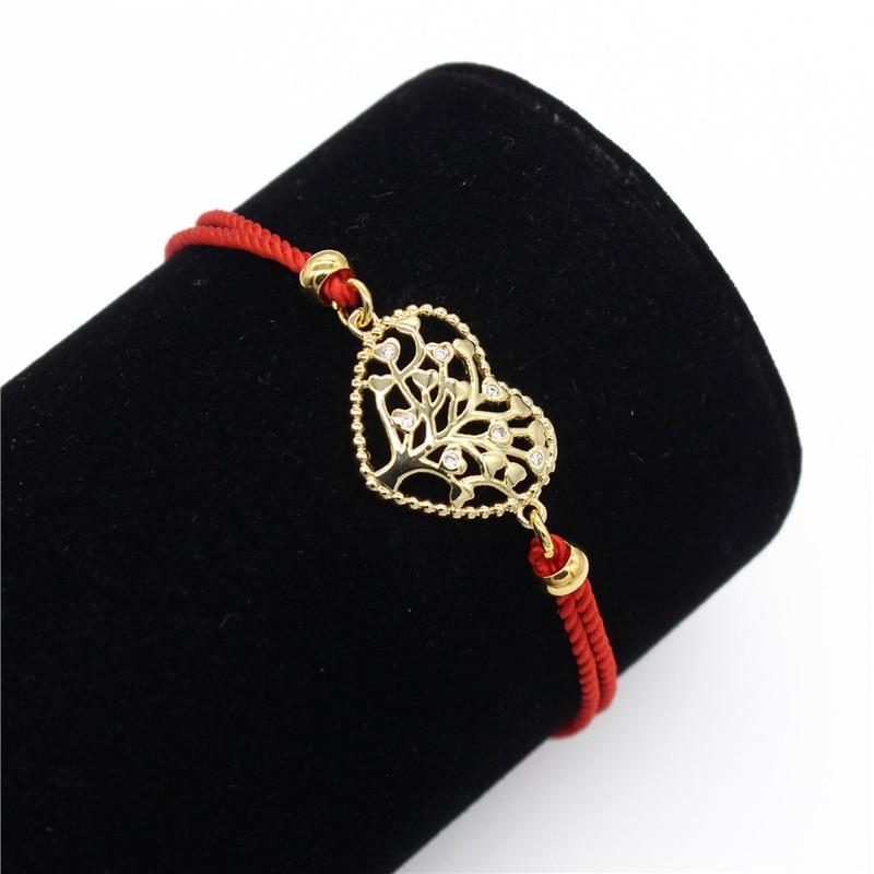 Женский браслет-цепочка золотого цвета с кубическим цирконием и сердечком, регулируемый браслет с Красной веревкой, очаровательные ювелир...