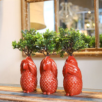 Creative No See No Say No Listen Red Parrot Sculpture Statue Decorative Crafts Flower Vases Simulation Pot For Home Wedding