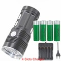 king 3T6 6T6 7T6 10T6 11T6 FLASHLIGHT 10x XML T6 LED Flash light Torch Camp Lamp work Light+4x18650 battery+charger