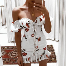 Women Summer Dress 2019 Lace Up Strapless Off The Shoulder Sexy Dress Short Sleeve Holiday Floral Print Ruffle Beach Dress White(China)