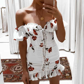 Women Summer Dress 2019 Lace Up Strapless Off The Shoulder Sexy Dress Short Sleeve Holiday Floral Print Ruffle Beach Dress White - DISCOUNT ITEM  40% OFF All Category