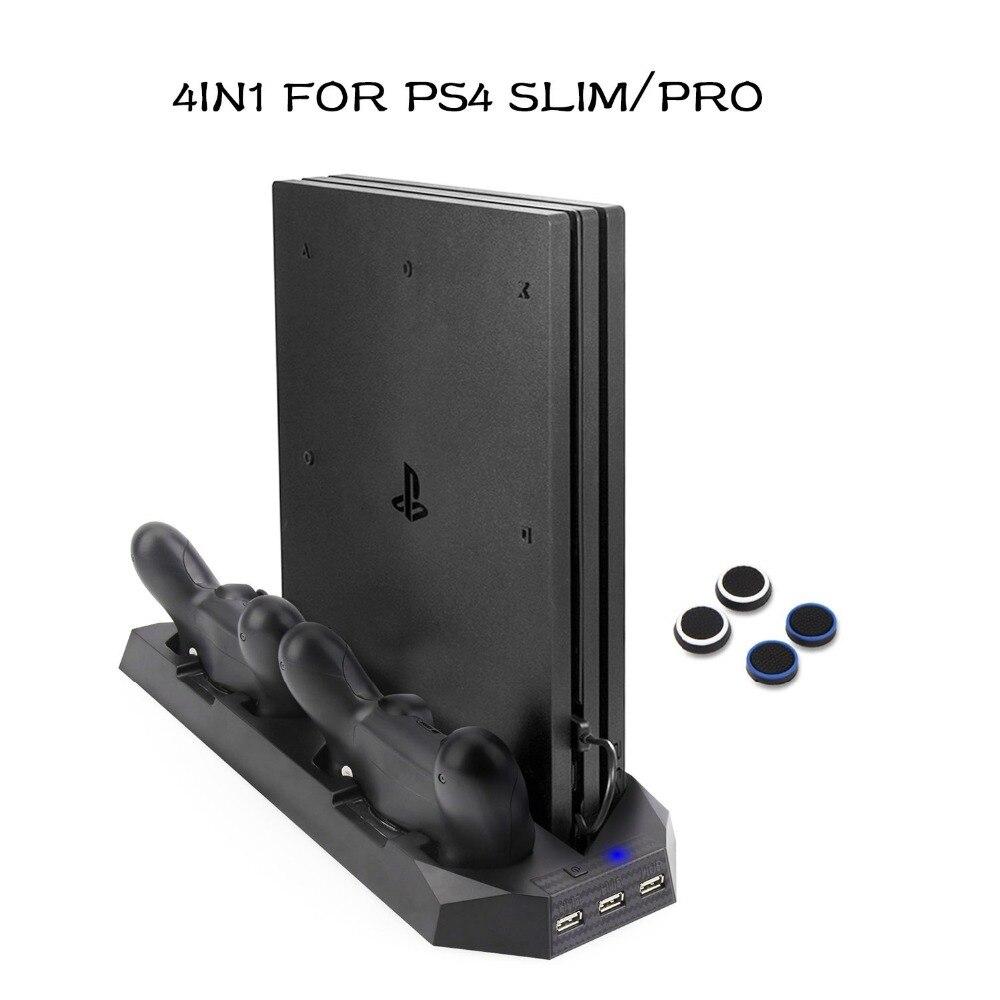 PS4 Delgado/PS4 Pro soporte Vertical ventiladores Cooler para PlayStation 4 Slim/Pro con doble estación de carga cargador para Dualshock