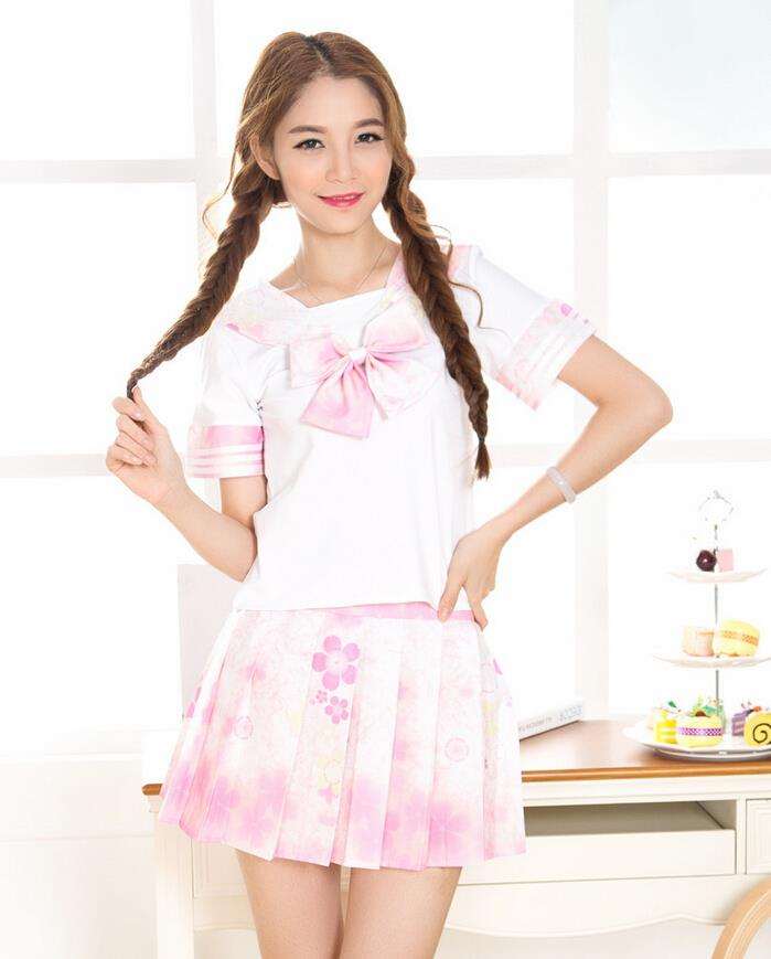 2015 summer New beautiful fashion brief Pink cherry blossoms Sailor suit white Japanese school uniforms preppy style dress