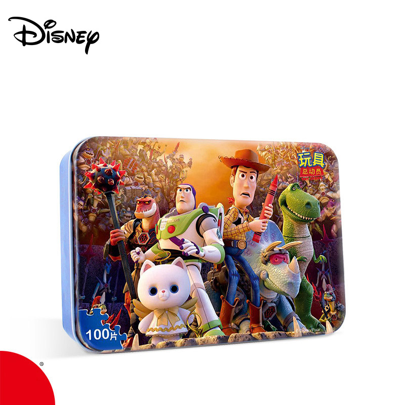 Disney Iron Box Jigsaw Puzzle Super Pan 100 Piece Children's Intelligence Development Quality Wood Plane Puzzle The Avengers