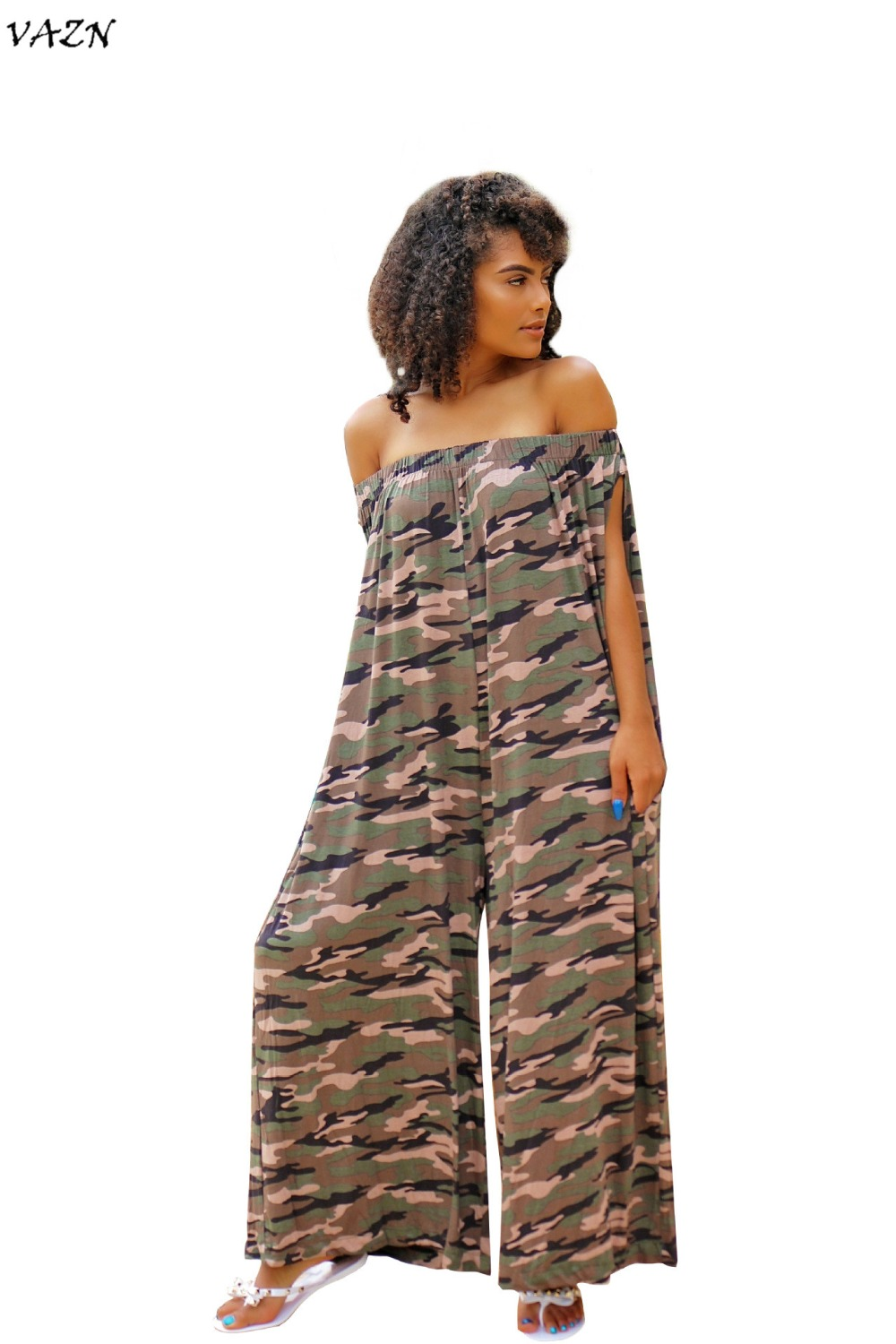 VAZN New Arrive Best Quality 2018 Sexy Night Club Women Long Jumpsuit Camouflage Slash Neck Shor Sleeve Loose Romper J1544
