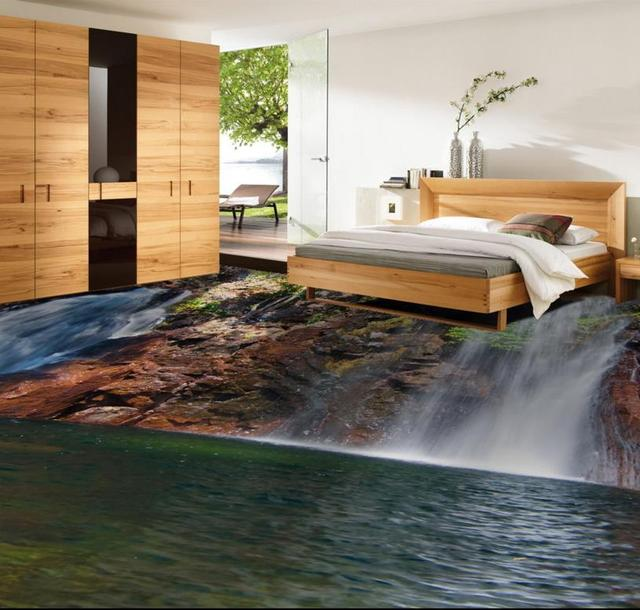 Foto Behang 3D Vloertegels Waterval Zelfklevende Behang 3D ...