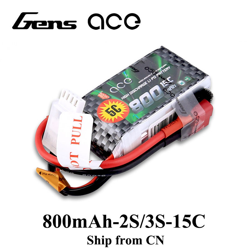 Gens ace <font><b>Lipo</b></font> Battery 11.1V <font><b>800mAh</b></font> <font><b>Lipo</b></font> <font><b>3S</b></font> RC Quadcopter Deans Plug T Connector for Small Airplane 250 Helicopter image
