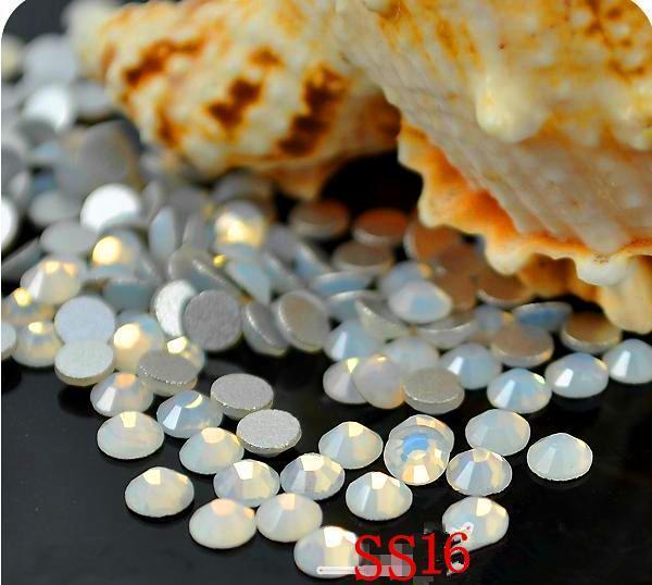 1440 pc/bag SS16 3.8-4.0mm White Opal strass Não HotFix Natator Pedrinhas, Vidro Glitter Glue-on Solto DIY Da Arte Do Prego Cristais Pedras