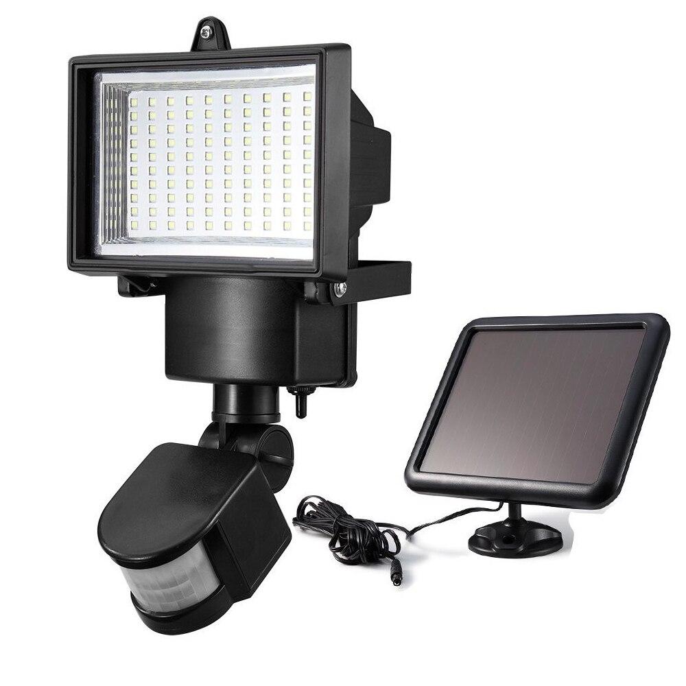 us $57.41  solar powered motion sensor light pir lamp with solar panel  outdoor garden path garage lighting 100 led security floodlights-in  floodlights