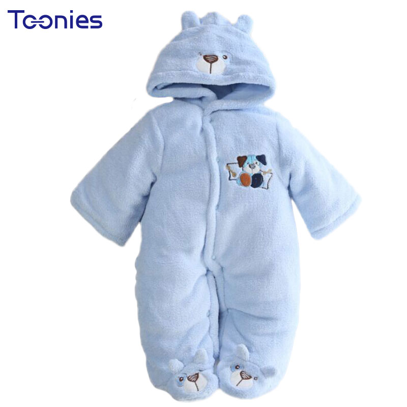 Winter Newborn Hooded Rompers Cartoon Embroidery Baby Thick Warm Jumpsuit Feet Covered Infant Boys Girls Coral Fleece Clothing 0 9months autumn winter baby girls boys rompers cartoon cute thick warm hooded jumpsuits newborn clothes infant clothing bc1225
