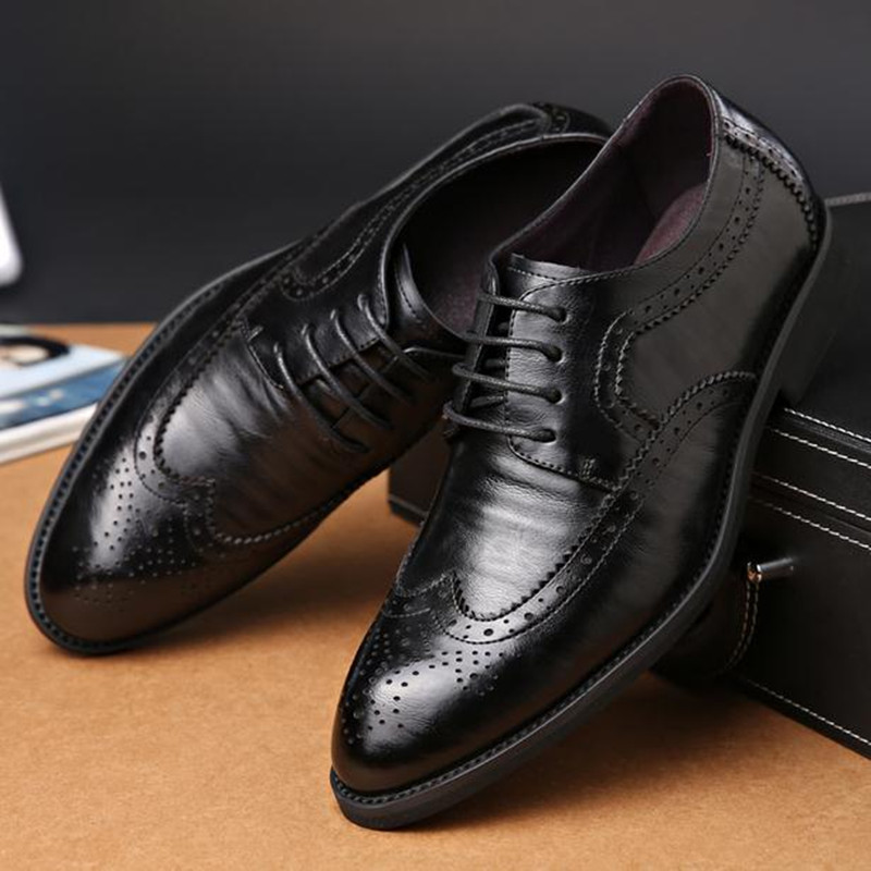 Bullock carved men s shoes Genuine Leather lace up Large size Business casual shoes Flats Plus