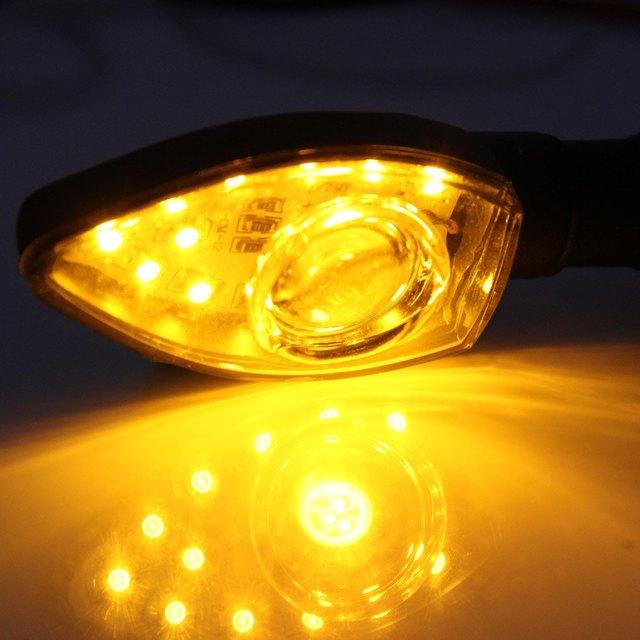 2Pcs 13 LEDs Motorcycle Turn Signal Indicator Light 12V 1W Motorbike Spot Lamp Arrow Shape Blinker Flasher Long Life Span Bright
