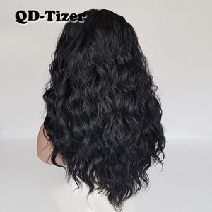 Image 3 - QD Tizer فضفاض موجة اللون الأسود الباروكات شعر الطفل غلويليس الاصطناعية الدانتيل شعر مستعار أمامي عالية الكثافة الشعر لمة لأسود النساء