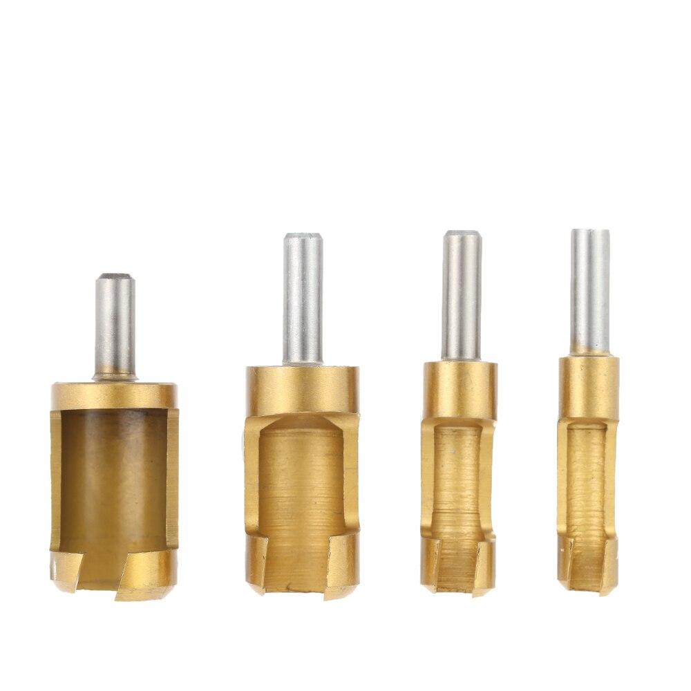 "Cork Cutter: 4pcs 1/4"" Wooden Plug Drill Shank Titanium Barrel Cork"