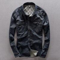 100 Cotton Long Sleeve Turn Down Collar Jeans Black Shirt Men Casual Spring Denim Pockets Men