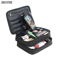 HKOTIIK High Quality Cosmetic Bag Large Capacity Waterproof Double Layer Travel Cosmetics Package Beauty Organizer Bag