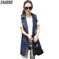 Women Long Denim Vest 2017 Spring Fashion Double Breasted Jeans Jacket Large Size Sleeveless Female Waistcoat