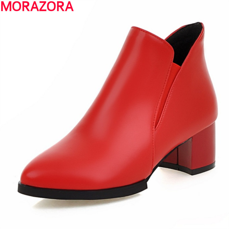 fashion 2017  med heel pointed toe ankle boots high quality pu soft leather black red autumn winter women shoes