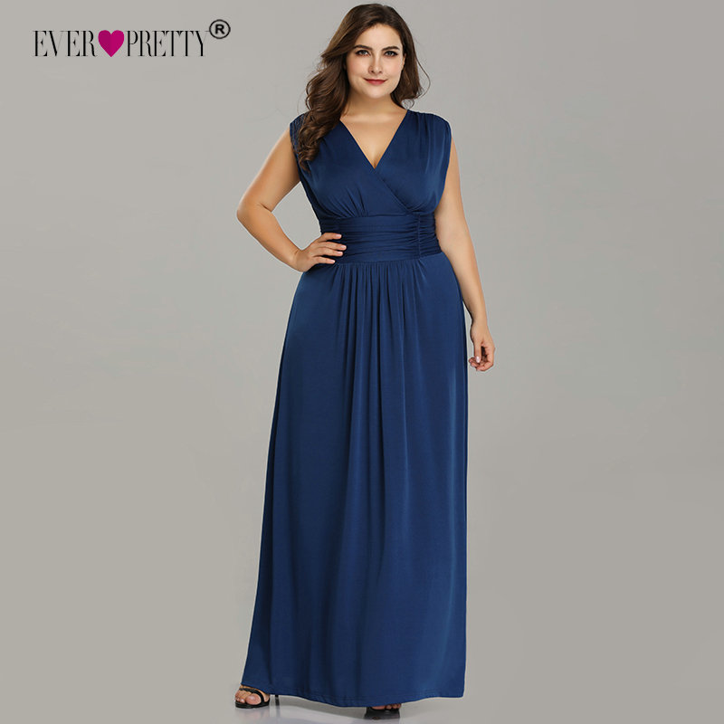 Plus Size Bridesmaid Dresses Ever Pretty EZ07661SB V-Neck Sleeveless Chiffon Dress For Wedding Party Cheap Long Vestido Madrinha