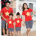 2016 New Family Matching Clothes Couple Clothes T-Shirt + Dad Son Shorts plaid pants Family Clothing Sets Family Look