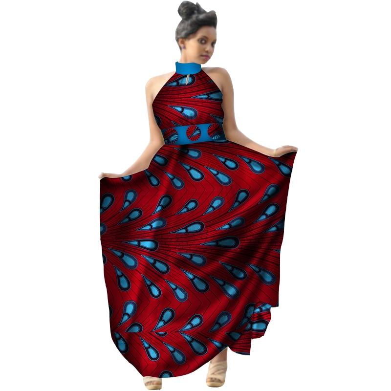 Été 2018 afrique imprimer cire femmes robe licou longue robe grande taille vêtements africains Bazin Riche robe pour dame WY2953 - 3